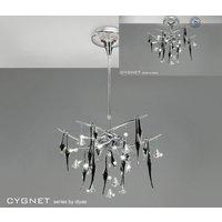 IL50410 Cygnet 10 Light Crystal And Black Glass Semi Flush Pendant