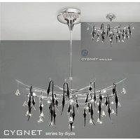 IL50416 Cygnet 12 Light Crystal And Black Glass Semi Flush Pendant
