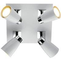 Dar LOF852 Loft 4 Light Spotlight Ceiling Fitting With White Finish