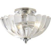 Modern Polished Chrome Clear Glass Crystal Style Semi Flush Ceiling Light