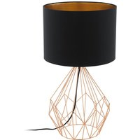 Eglo 95185 Pedregal 1 One Light Table Lamp In Copper With Black And Copper Fabric Shade