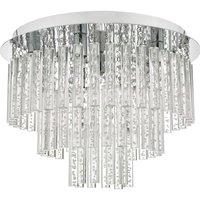Dar PAU5450 Paulita 5 Light Semi Flush Bathroom Ceiling Light In Polished Chrome And Clear Glass