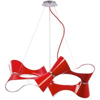 Mantra M1562 Ora 8 Light Ceiling Pendant Light In Red And Chrome