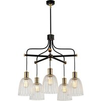 Elstead DOUILLE5 BPB 5 Arm Chandelier Ceiling Light In Black And Polished Brass - Fitting Only