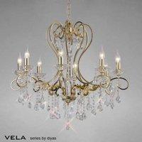 Diyas IL32065 Vela Crystal Chandelier Light in French Gold