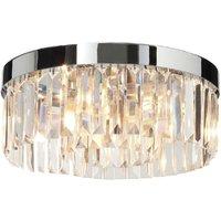 Saxby 35612 Crystal Bathroom Flush Ceiling Light Polished Chrome