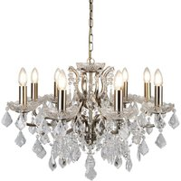 Searchlight 8738-8AB Paris Eight Light Ceiling Chandelier In Antique Brass With Crystal Glass