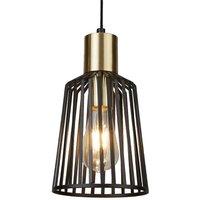 Searchlight 9412BK Bird Cage Small One Light Ceiling Pendant Light In Matt Black   Width  160mm