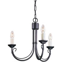 Elstead CH3 BLACK Chartwell 3 Light Chandelier In Black - Fitting Only