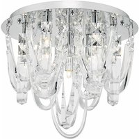 Dar ROX5050 Roxanne 7 Light Flush Ceiling Light In Chrome And Crystals
