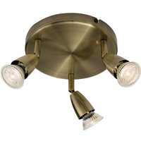 Saxby 60997 Amalfi Triple Ceiling Spotlight in Antique Brass Finish