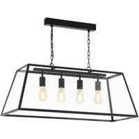 Eglo 49886 Amesbury 1 Four Light Ceiling Lantern Pendant In Black With Clear Glass