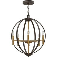 HK/EUCLID/6P Euclid 6 Light Ceiling Pendant Chandelier Light In Spanish Bronze