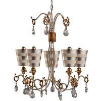 FB TIVOLI5SV Tivoli 5 Light Ceiling Chandelier In Silver And Cream