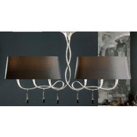 M0531 Paola 6 Light Silver Chandelier With Black Shades