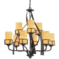 QZ KYLE9 Kyle 9 Light Imperial Bronze Chandelier with Onyz Shades