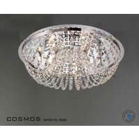 IL30044 7 Lt Chrome and Crystal Halogen Flush Ceiling Lamp