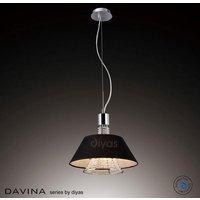 IL30042 BL Davina 2 Light Chrome  Crystal And Black Pendant