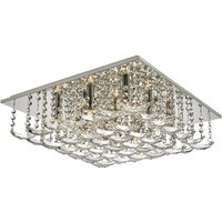Dar ORE1350 Orella 9 Light Flush Ceiling Light In Polished Chrome With Crystals