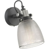 Dar ISM0722 Ismet 1 Light Wall Light In Black And Clear Glass