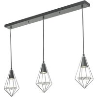 Dar GIA0350 Gianni 3 Light Linear Ceiling Pendant In Polished Chrome And Black