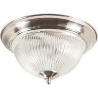 Modern 2 Light Satin Silver IP44 Flush Bathroom Ceiling  Light