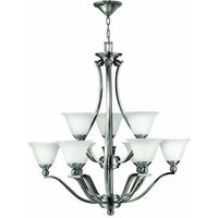 HK/BOLLA9 9 Light Brushed Nickel and Opal Glass Chandelier