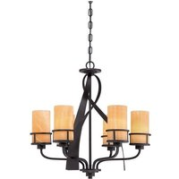 QZ KYLE6 Kyle 6 Light Imperial Bronze Chandelier with Onyz Shades