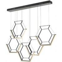 Dar HEX0522 Hexagon 5 Hexagon Bar Ceiling Pendant In Black