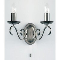 Endon 2030 2AS 2 Light Wall Light In Antique Silver