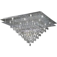 Diyas IL31340 Amaris 14 Light Flush Ceiling Chandelier In Chrome With Clear Crystals