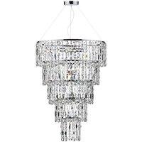 Dar ESC0650 Escala 6 Light Tiered Crystal Chandelier Pendant Light
