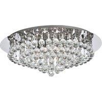 Searchlight 3408 8CC Hanna 8 Light Crystal Flush Ceiling Light In Polished Chrome