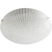Modern 9 Watt LED Flush Ceiling Light With Ribbed Glass Shade