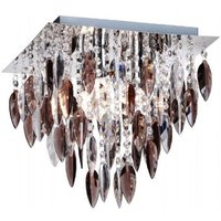 Willazzo Square 3 Flush Light Ceiling Fitting In Chrome With Smoked Droplets