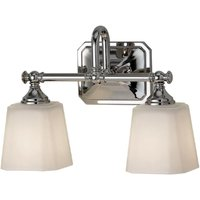 Elstead FE/CONCORD2 BATH Concord 2 Light Above Mirror Wall Light In Polished Chrome With Opal Etched Glass Shade