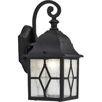 Traditional Black Outdoor Leaded Glass Wall Lantern Light