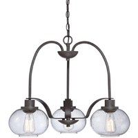 QZ TRILOGY3 Trilogy 3 Light Old Bronze Chandelier with Glass Shades