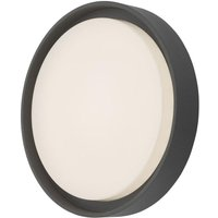 Dar RAL5039 Ralph Outdoor Ceiling Wall Light In Grey And White   Dia  250mm