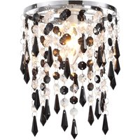 Easy Fit 1 Light Ceiling Pendant Lamp Shade In Black   Clear Glass