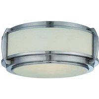 QZ WILKINSON F 3 Light Nickel   Glass Flush Ceiling Light