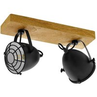 Eglo 49077 Gatebeck 2 Light Ceiling Spotlight In Natural Wood And Black