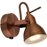 Retro Industrial Antique Brushed Copper Single 1 Way Wall Spot Light   LED Compatible
