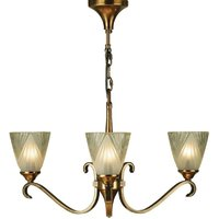 Interiors 1900 63436 Columbia 3 Light Ceiling Pendant Light In Brass With Deco Style Glass Shades