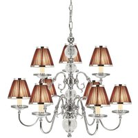 Interiors 1900 63717 Tilburg Nickel 9 Light Ceiling Pendant Light With Chocolate Shades In Nickel