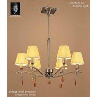 M0342AB Siena Antique Brass 6 Light Chandelier With Shades