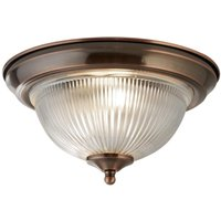 Antique Brushed Copper IP44 Bathroom Flush Ceiling Light Clear Glass Shade
