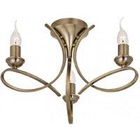 Interiors 1900 CA7P3BB Penn 3 Light Semi Flush Ceiling Light In Brushed Brass