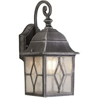 Traditional Outdoor Wall Light in Black Silver With Leaded Style Cathedral Glass