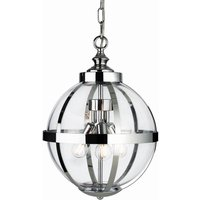 Firstlight Monroe 3708CH 3 Light Ceiling Pendant In Chrome And Clear Glass